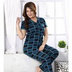 Female Half Sleeve Ladies Satin Night Suit, Size: S-XL