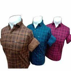 Carnot Collar Neck Mens Cotton Check Shirt, Machine wash