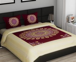 Floral Jaipuri Gold Printed Cotton Double Bed Sheet