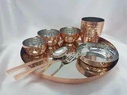 Grey Plain Copper Thali Set, For Multipurpose