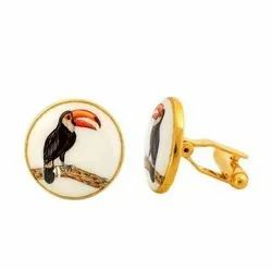 Hand Painted Birds 92.5 Sterling Silver and Enamel Cufflinks