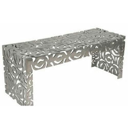 Silver Laser Cut Steel Fabricated Table, For Marriage Hall