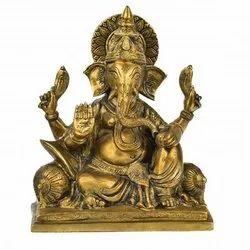 Golden Brass Ganesha Statue
