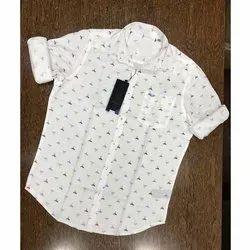Casual Wear Collar Neck Men White Printed Cotton Shirt