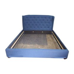 Blue Designer Wooden Double Bed, Size: 7 x 6 Feet