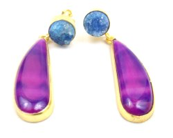 Purple Agate Earring and Blue Druzy  Gemstone Stud with Gold Plated