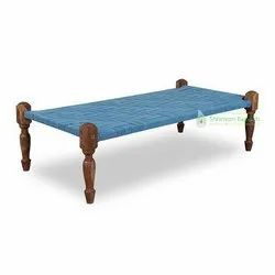 Single Bed Wooden Carved Charpai Daybed for Bedroom or Outdoor Furniture