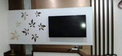 Applewood Wooden Wall Mounted TV Wall Unit, For Residential