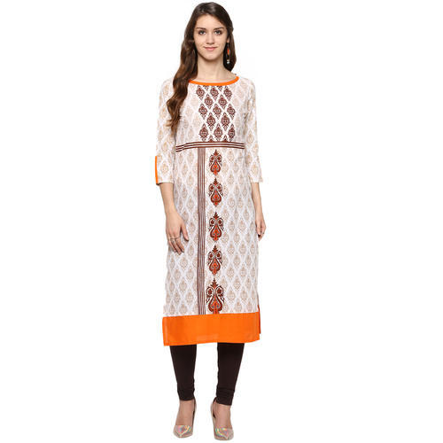 Cotton White Printed Kurta