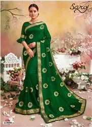 Green Color Designer Silk  Border Saree