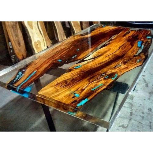 Wood And Epoxy Resin Clear River Dining Table