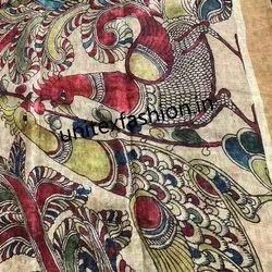 Linen Digital Kalamkari Printed Saree, Saree Length: 6.3 m