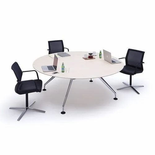White Wooden Round Office Meeting Table, Round Office Table