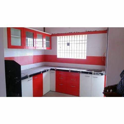 Red White Modular Kitchen, मॉडर्न किचन, मॉडर्न रसोई