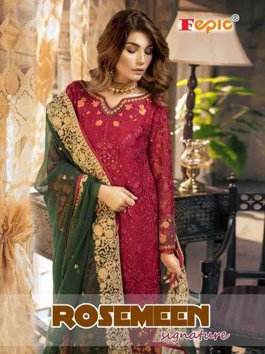 8d1872e10c Party Wear Fepic Rosemeen Signature Georgette Nett Pakistani Pure Dress