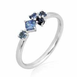 10K Gold Designer Blue Sapphire Ring