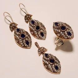 Copper Trendy Turkish Ring  Pendant Set