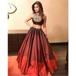 Ladies Silk Designer Skirt and Sleevesless Crop Top Dress, Size: S, M and L