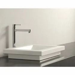 Ceramic Table Mounted Square Basin, Packing Type: Box