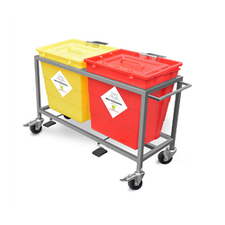 Waste Segregation Trolley With Plastic Bin