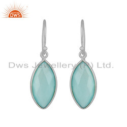 Aqua Chalcedony Gemstone Womens 925 Sterling Silver Hook Earrings