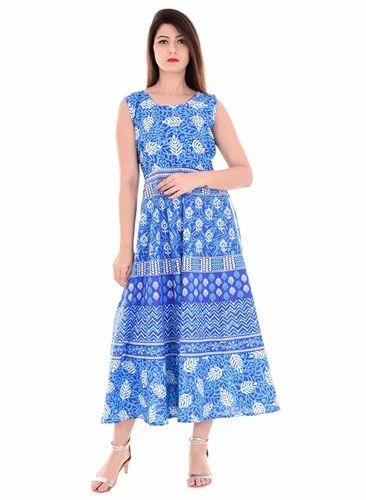 29c1f74e2 Cotton Blue Rajasthani Printed Party Wear Long Maxi Dress Winter Wear