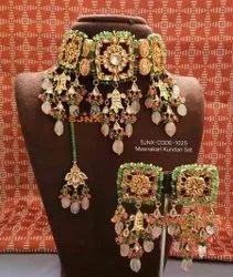 Maang Tikka Earring Set Kundan  /& Pearls Choker Golden Necklace Na n463 Indian Bollywood Fashion Party wear Jewelry