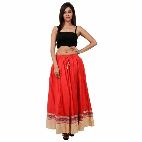 e12130bf4 Kohinoor Free Size Cotton Plain Bordered Long Skirts, Rs 500 /piece ...