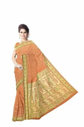 All Over Cream Color Dupion Silk Bandhani Saree
