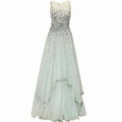 White Net Ladies Fancy Gown