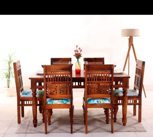70a429c642f3 Standard Height Solid Sheesham Wood Dining Set With 6 Chairs, Size: 5' *