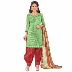 Green Colored Cotton Printed Unstitched Casual Wear Salwar Suit