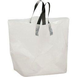 Plastic White And Black Loop Handle Bag