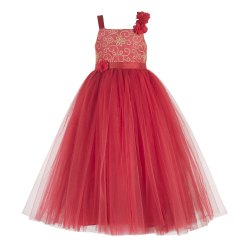 Net Toy Balloon Kids Red Embroidered Party Wear Gown, Age Group: 2-12 Years