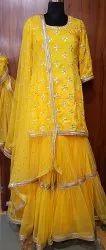 Haldi Three Quarters Yellow Sharara Gotapatti Dress