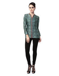 Solid Green Printed Top