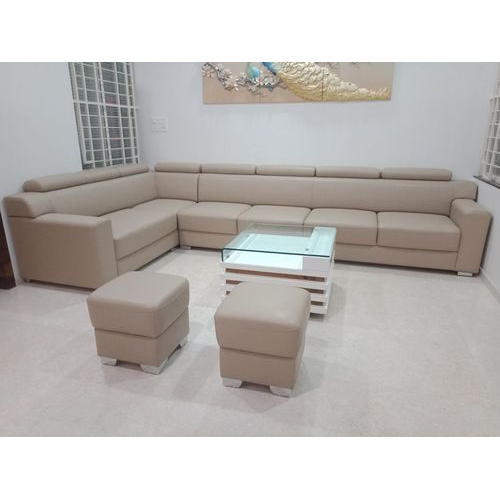 Beau Wood L Shape Sofa Set