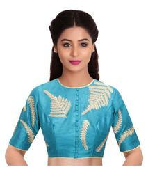 Blue Embroidered Blouse Material
