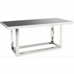 Silver Rectangular Stainless Steel Dining Table