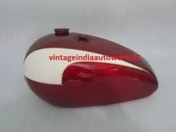 New Triumph T140 Cherry  Cream Painted Oil In Frame Gas Fuel Petrol Tank (Us Version)