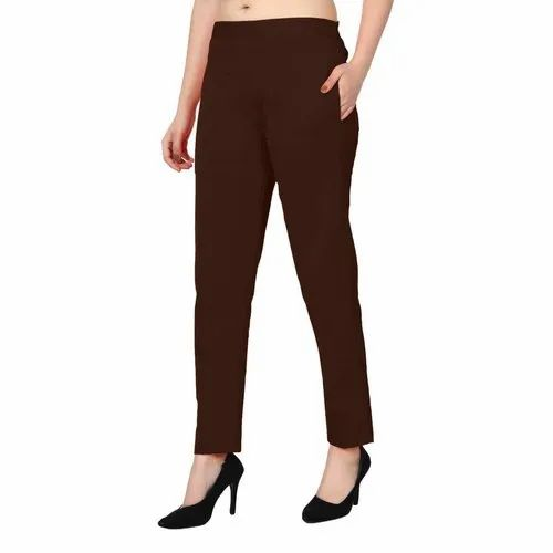 Red Ladies Cigarette Pants For Women