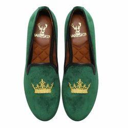 Men Green Velvet Slip On Shoes