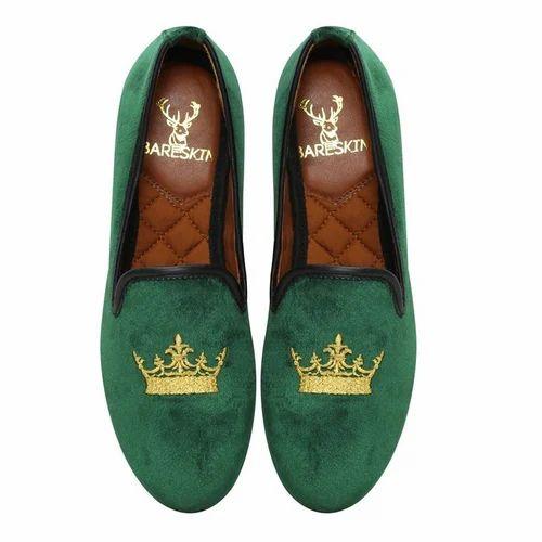 Men Green Velvet Slip On Shoes, Rs 2999