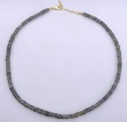 Natural Gray Labradorite Gemstone Faceted Heishi Tyre Beads Necklace With Fish Clasp