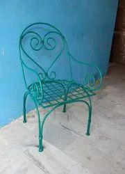 Polished Green Iron Outdoor Garden, Balcony Chair, For Garden Furniture