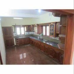 Wooden L Shape Designer Modular Kitchen, Kitchen Cabinets
