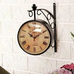 Metal Decorative Antique Both Sided - Wall Clock, Size: 12 x 3 x 12 Inch