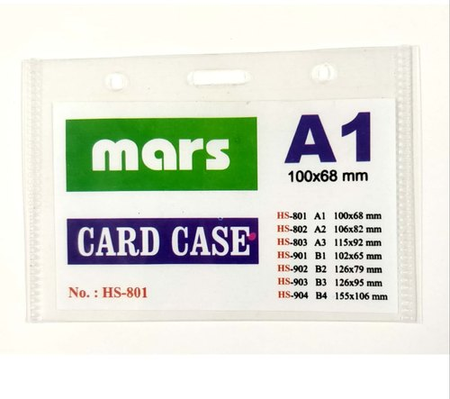 Double Sided Rectangular Transparent PVC ID Card Holder A-1