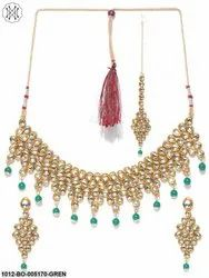 Priyaasi Heavily Embellished Green Kundan Necklace Set With Tikka