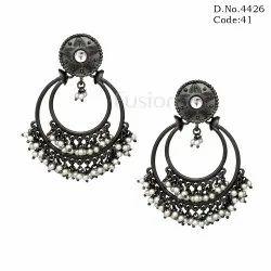Victorian Finish Kundan Pearl Chandbali Earrings